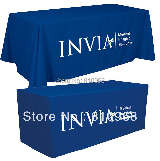 8ft trade show table cover, company logo table cloth, Trade Show Table Throw, OPEN back