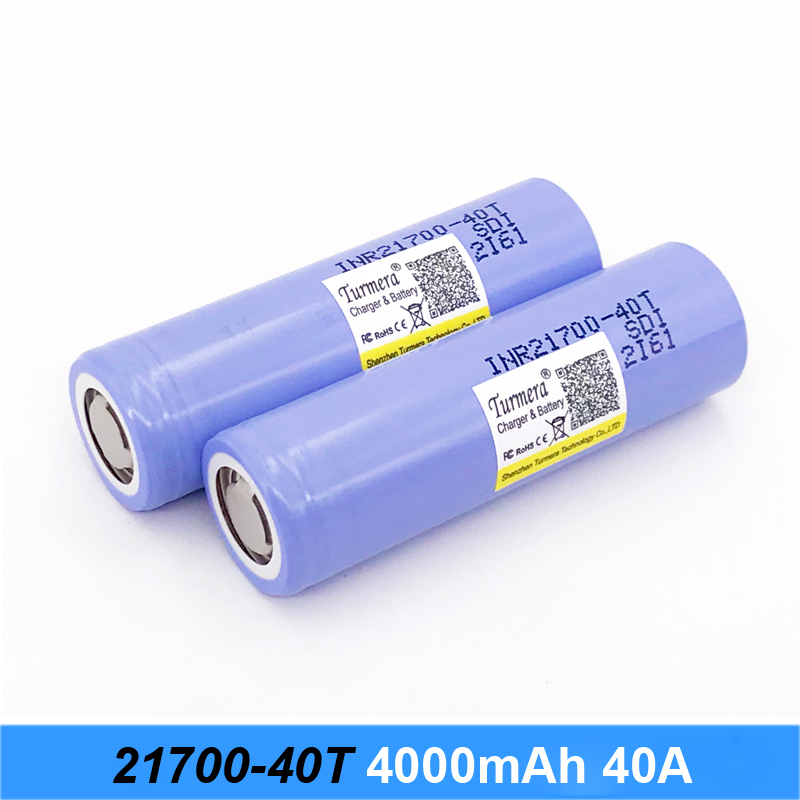 original 21700 battery INR21700-40T 30a 4000mah battery for Samsung electric cigarette and power bank battery Turmera 21700