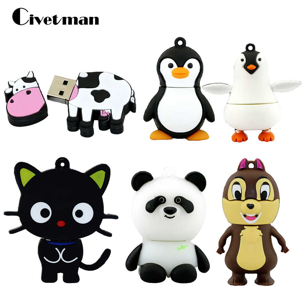 USB Flash Drive Animal pingüino gato Pen Drive de dibujos animados de Pendrive de vaca GB 8 GB 16 GB 32 GB 64 GB 128 GB USB 2,0 Flash Memory Stick