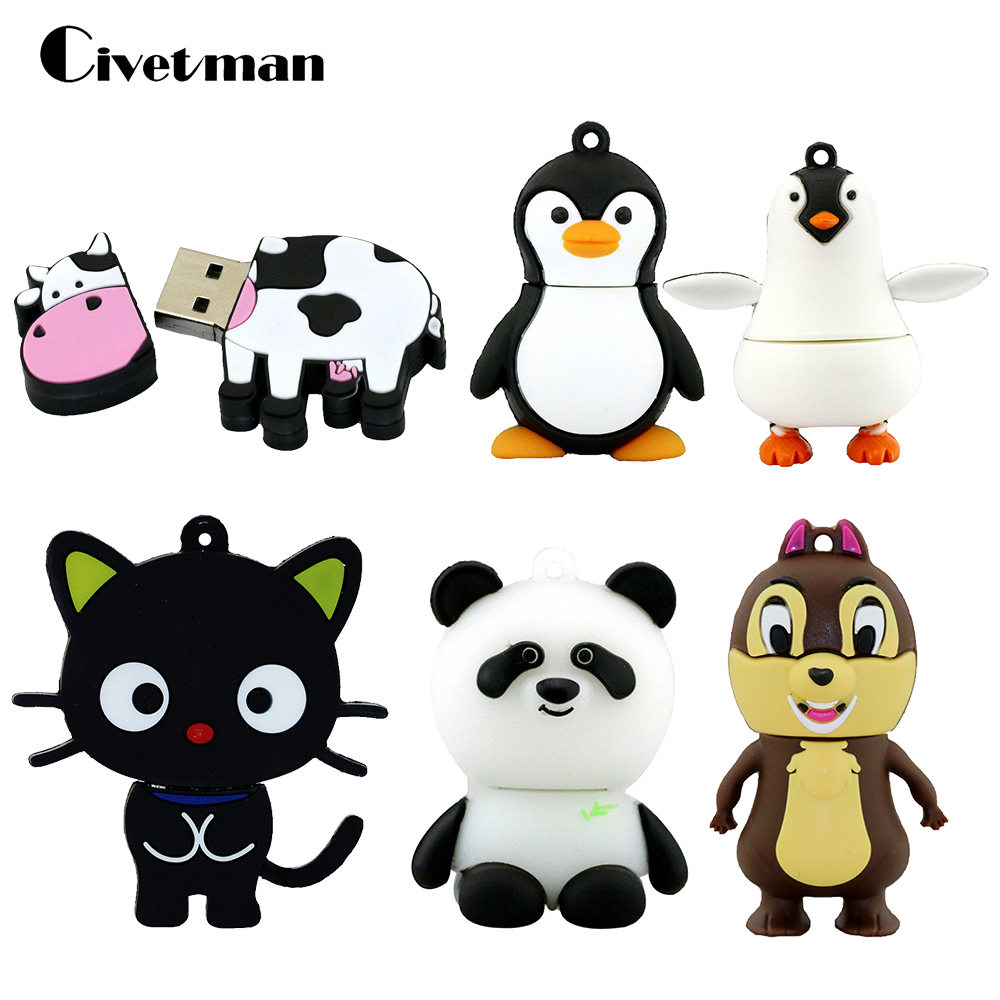USB Flash Drive Animal Penguin Cat Pen Drive Cartoon Pendrive Animated Cow 8GB 16GB 32GB 64GB 128GB USB 2.0 Flash Memory Stick