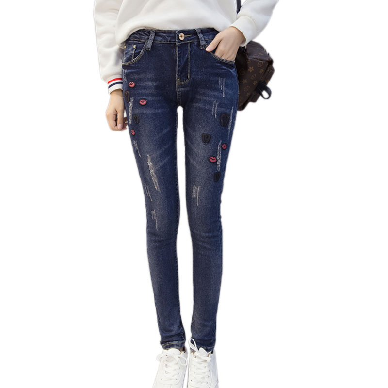 Plus Size 5XL Thick Winter Lips Embroidery High Waist Torn Jeans For Women Harem Pants Boyfriend
