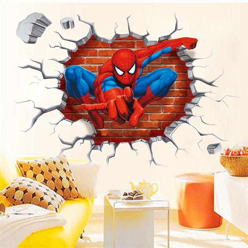 HTB1c1HHJXXXXXX4XFXXq6xXFXXXc - 45*50cm hot 3d hole famous cartoon movie spiderman wall stickers for kids rooms boys gifts through wall decals home decor mural