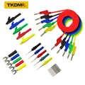 TKDMR 30 шт. набор 5 цветов 4 мм двойная вилка типа «банан» Гладкий силиконовый свинцовый Тестовый Кабель для мультиметра 1 м u-образный крокодил
