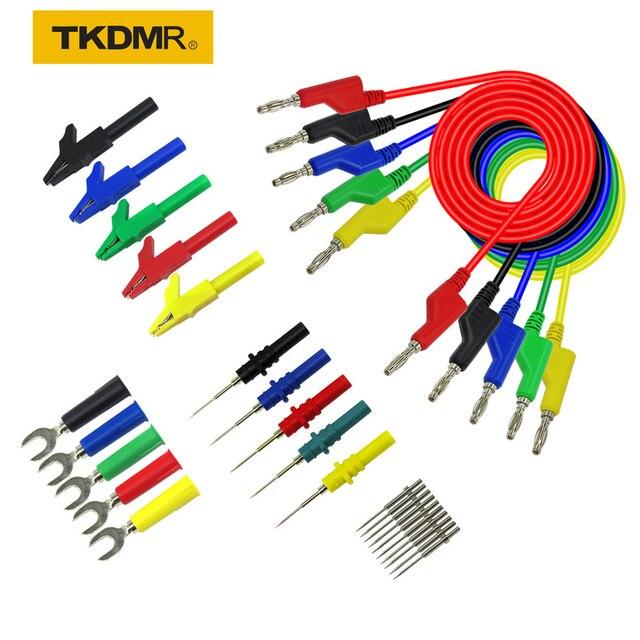 TKDMR 30 sztuk zestaw 5 kolorów 4mm podwójna wtyczka bananowa gładki silikonowy przewód testowy do multimetru 1m w kształcie litery U zacisk krokodylkowy