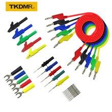 TKDMR 30PCS set 5 Colors 4mm Dual Banana Plug Smooth Silicone Lead Test Cable For Multimeter 1m U shaped alligator clip