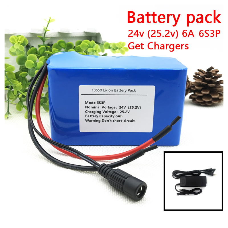 24V 6Ah 6S3P 18650 Battery Li-ion Battery 25.2v 6000mah Electric Bicycle Moped /electric/lithium Ion Battery Pack+2A Charger 16 8v 2a 18650 lithium battery charger dc 5 5mm 2 1mm 110 220v 14 4v 4series lithium li ion battery wall charger