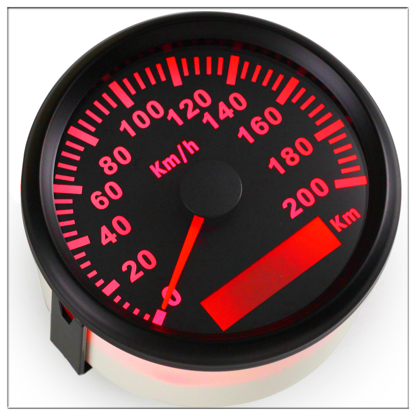 GPS Speedometer Speed Gauge Pointer display Odometer 85 mm 200 kmh ATV UTV Motorcycle Marine Boat Buggy 12V/24V Red backlight.