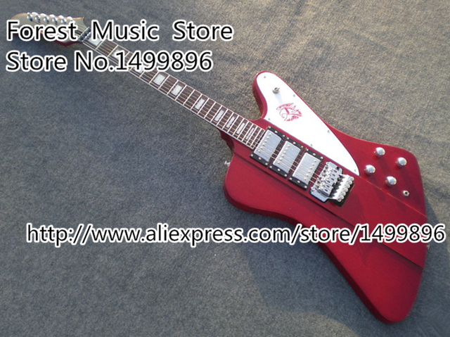 Cheap Top Selling Red Three Pickups Firebird Electric Guitar With Floyd Rose Tremolo Left Handed Available
