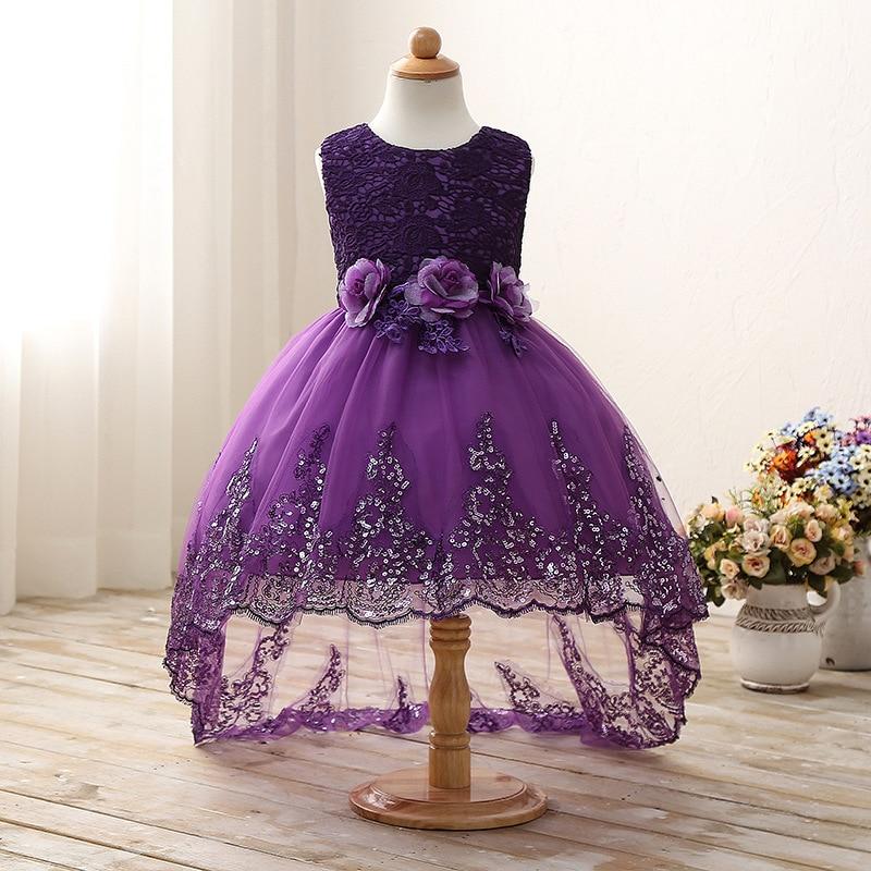 2017 High quality princess dress girls wedding graduation gown purple children flower dress vestido de festa