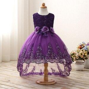 Image 1 - 2017 High quality princess dress girls wedding graduation gown purple children flower dress vestido de festa infantil menina