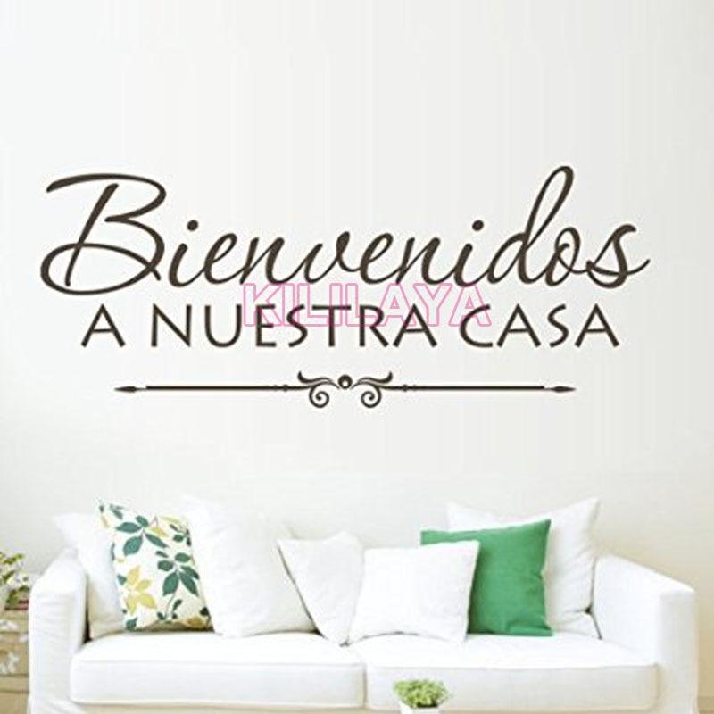 Vinyl wall stickers spanish quote bienvenidos a nuestra for Wallpaper decals