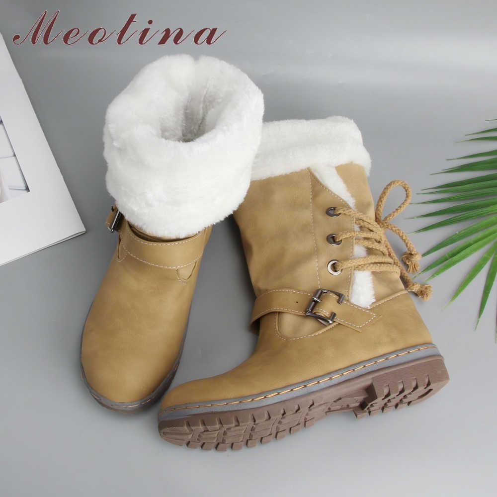 Meotina Orta Buzağı Çizmeler Kış Kar Botları Kadın Toka Peluş Ayakkabı Düz Yuvarlak Ayak Çizmeler Rahat Bej Yeşil Büyük Boy 34-46