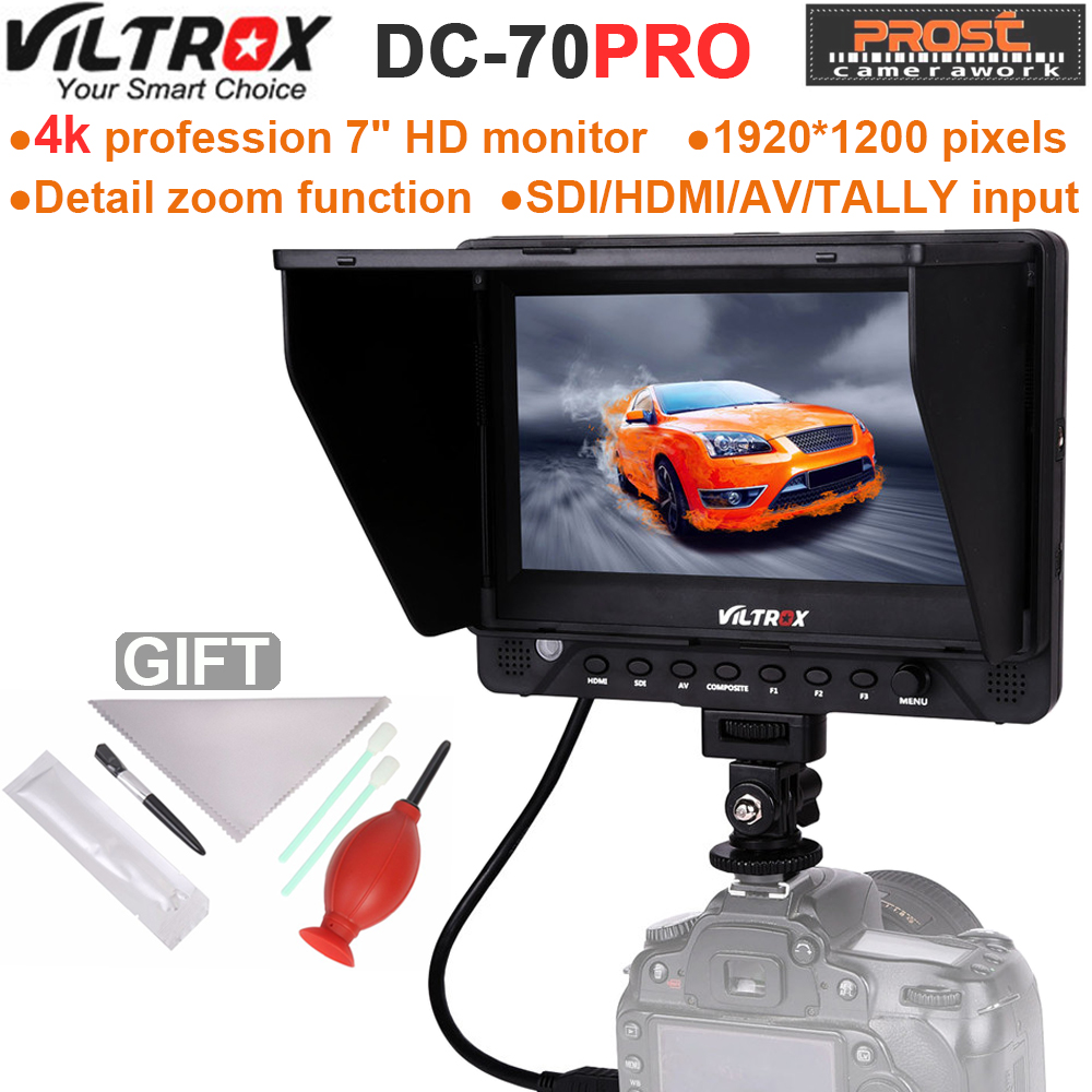 Viltrox DC-70PRO 7 Inch Field Monitor HD Camera Video 4K Monitor HDMI SDI AV Input 1920x1200 for Canon Nikon Pentax Sony DSLR new aputure vs 5 7 inch 1920 1200 hd sdi hdmi pro camera field monitor with rgb waveform vectorscope histogram zebra false color
