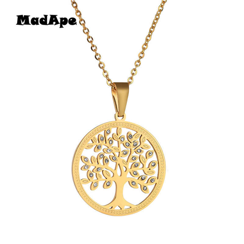 MadApe 316L Stainless Steel Tree Of Life Necklace Gold Color With Zircon Round Pendant Necklace For Women Fashion Sweater Chain