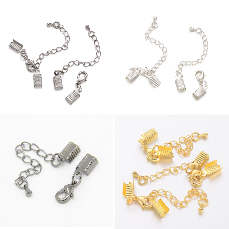 12 Clasp and Clip Set Lobster Clasp Extender Chain Jewelry DIY 6*13mm Silver
