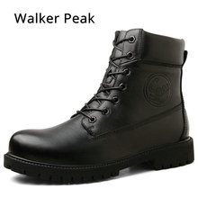 Genuine leather Shoes for men ankle boots winter snow Fur inside warm cowboy waterproof safety Boots male shoes Big size 38-45