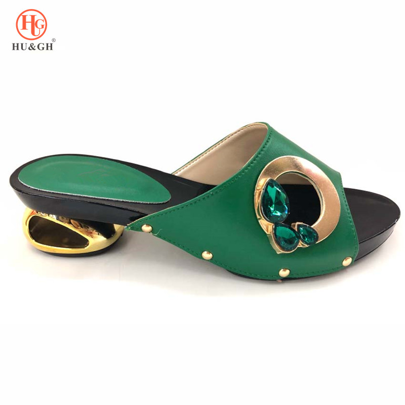Latest Fashion Womens Dress Shoes Open Toe Ladies Sandals with Heels Green African Women Wedding Shoes Decorated with Rhinestone-in Women's Pumps from Shoes    1
