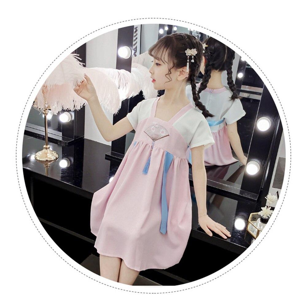 2019 New Trend Girl Hanfu Summer Retro Dress Chinese Style Embroidery Super Fairy  Children Little Costume