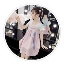 лучшая цена 2019 New Trend Girl Hanfu Summer Retro Dress Chinese Style Embroidery Super Fairy Dress  Children Little Girl Fairy Girl Costume