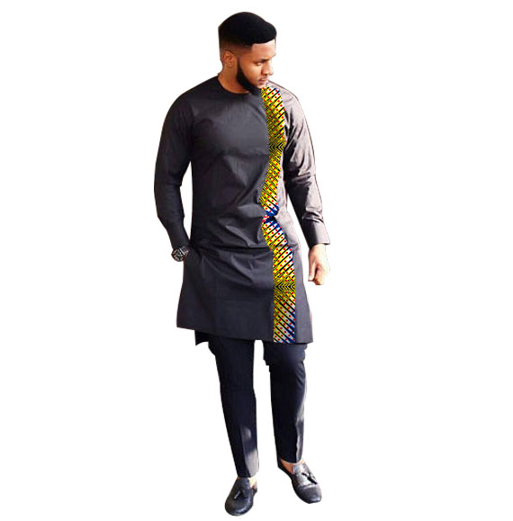 Fashion Man's Tees African Print Clothing Men Tops+Trousers Set Shirts And Pants Sets Festive Costume African Clothes For Men