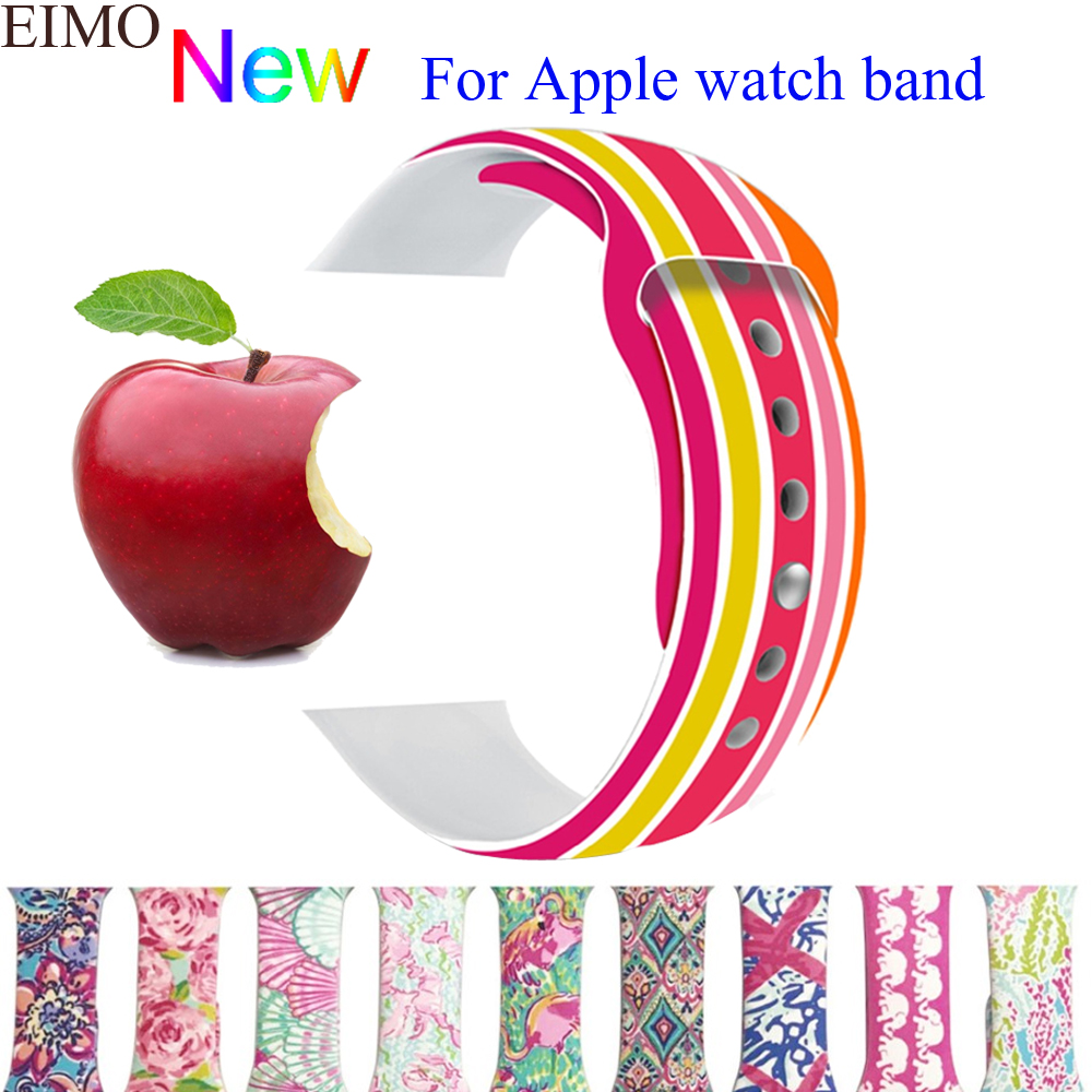 EIMO Sport Silicone band strap for Apple watch bands 42mm 38mm bracelet wrist watchband iwatch series 3/2/1 Accessories for apple watch band leather watchband for iwatch bands 42mm 38mm series 3 2 1 butterfly buckle bracelet strap wrist accessories