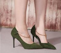 New Suede Fine With Shallow Mouth High Heels Pointed Side Of The Air Chain Decorated Pedicure