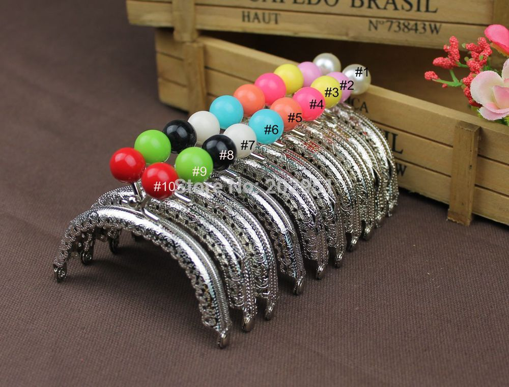 50pcs mix color 8 5 cm Metal Purse Frame candy ball arc kiss clasp for pures