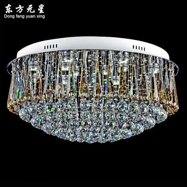 Crystal chandelier lamp led light indoor lighting modern luxury crystal chandelier lamp led light indoor lighting modern luxury round flush mount led ligting decoration aloadofball Image collections
