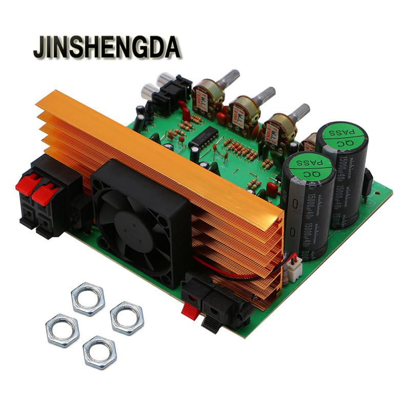 JINSHENGDA Amplifier Dual AC 24V In 2.1 Channel Digital Subwoofer Amplifier Board Bass Stereo Audio 4 1 channel lm4780 amplifier finished board ac 24v 28v 4x68w 130w subwoofer