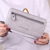 High Capacity Fashion Women Wallets Long Dull Polish PU Leather Wallet Female Double Zipper Clutch Coin