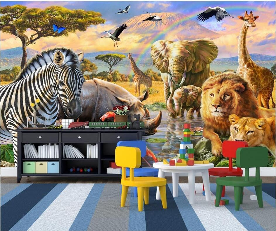 Custom mural photo 3d wallpaper Grassland animals room decor painting picture wall paper 3d wall murals wallpaper for walls 3 d 3d wall murals wallpaper for living room walls 3 d photo wallpaper sun water falls home decor picture custom mural painting