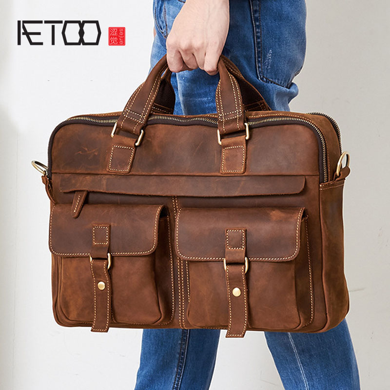 AETOO Europe and the United States selling large-capacity men's business briefcase Crazy handbag man bag computer bag aetoo europe and the united states fashionable women s bag new leather ladies handbag large capacity diagonal shoulder bag