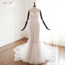 New! Julia Kui V-Neckling Tassel Beading Design Mermaid Wedding Dresses Spaghetti Straps Vestido De Noiva