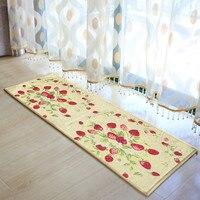Yazi אדום תות בד שטיח מטבח שטיח Mat חדר קומת Tapete שפשפת בברכה בית תפאורה 45x122 ס