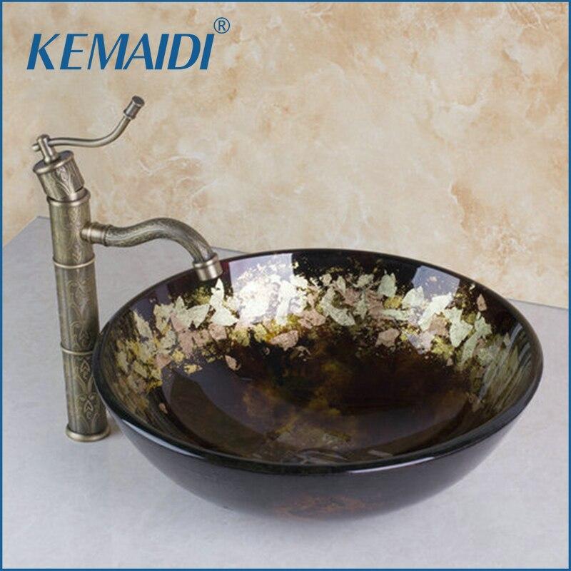 Круглые Раковины из закаленного стекла для ванной комнаты, раковины с античным латунным краном, ручная работа, 400396006