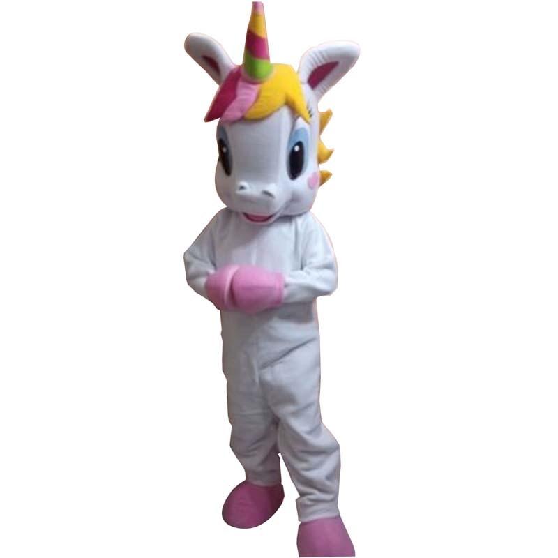 Licorne mascotte Costume petit poney mascotte costume arc-en-ciel poney rose chaussures fantaisie robe costume pour adulte Halloween pourim party