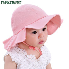 купить Solid Color New Summer Baby Girl Hat Children Sun Hat Cotton Baby Bucket Caps Autumn Child Sun Cap Boys Girls Brim Beach Hats дешево