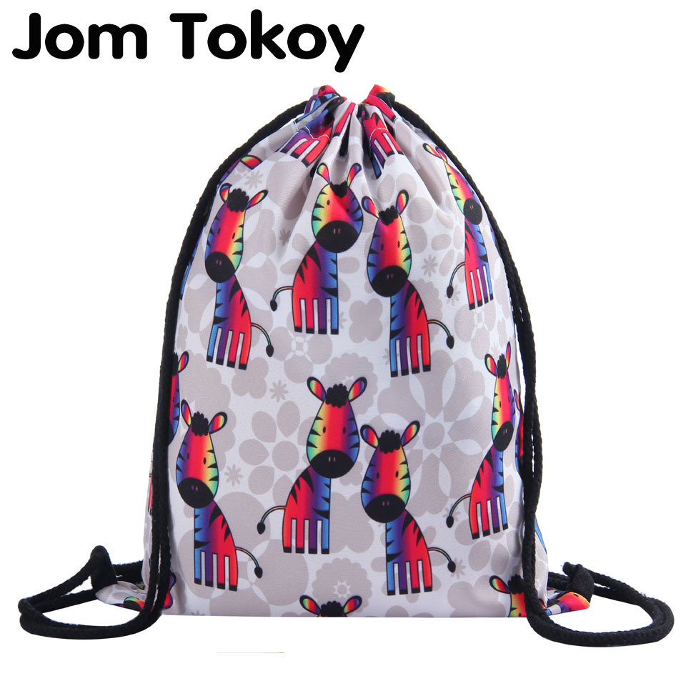 Jom Tokoy 3D Printing Zebras Girls Student Drawstring Bag  Fullprinting New Fashion Woman Drawstring Backpack