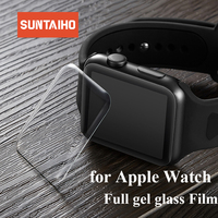 Suntaiho 9D Full Cover Full gel Glass Film For Apple Watch 4 40 44 mm Screen Protector for iWatch Series 4 3 2 Protector Film 38