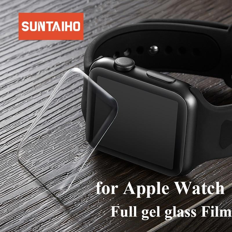 Suntaiho 9D מלא כיסוי מלא ג 'ל זכוכית סרט עבור אפל שעון 4 40 44mm מסך מגן עבור iWatch סדרה 4 3 2 מגן סרט 38