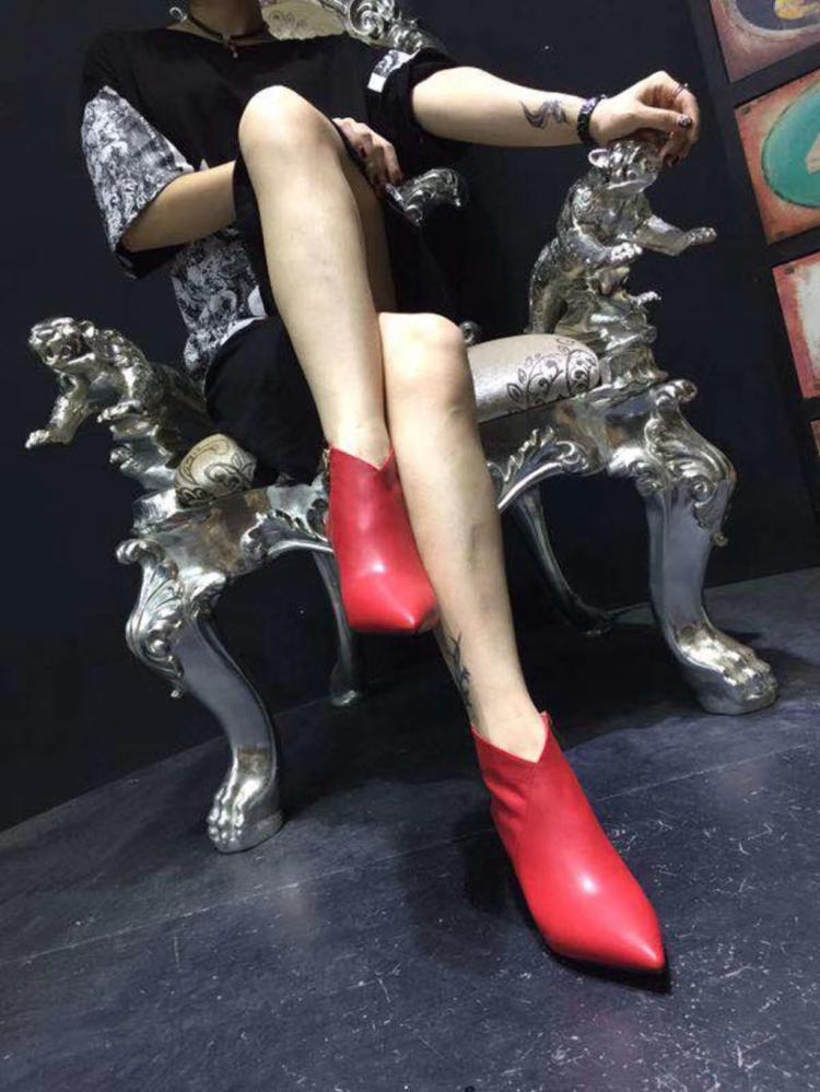 2018 Discothèque Sexy Fermeture Talons Hauts Avec Et En Bottes Martin rouge Femmes Pointu Nouvelles Automne Forme De Éclair Noir Cuir Nu 67ZOnw6rq