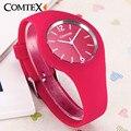 Relojes mujeres comtex marca moda casual relojes de cuarzo relojes mujer mujeres relojes deporte de los hombres del deporte del silicón relojes niños reloj
