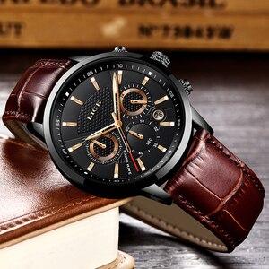 Image 3 - LIGE 2019 新しい腕時計メンズファッションスポーツクォーツ時計メンズブランド高級レザービジネス防水時計レロジオ Masculino