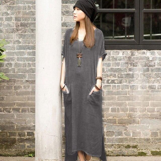 Romacci 2018 Summer Women Casual Loose Short Sleeves Vintage Long Maxi Dress Irregular Dresses Robe Vestidos Plus Size Feminino