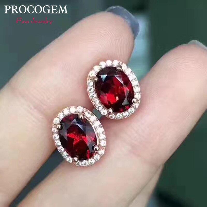 Natural Garnet Stud Earrings 6x8mm 2.80Ct Genuine Gemstones 925 Sterling silver fine Jewelry Earrings Whit CZ for Women #376
