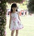Traje de la muchacha niños muchachas del vestido del arco vestido de algodón blanco casual vestido de bola sin mangas vestidos de flores de tulipán ropa infantil de verano
