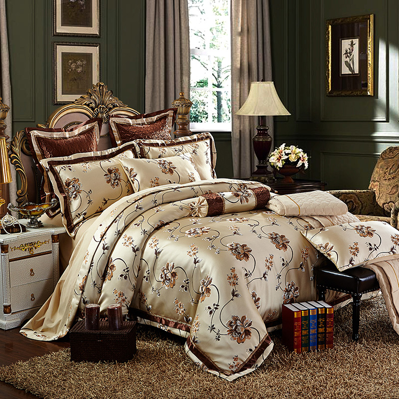Cotton Stain Jacquard Luxury Wedding Bedding set 4 6Pcs Kits King Queen size Duvet cover Thick