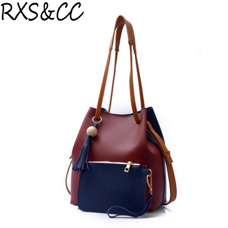 Rxs&cc New fashion lady bag high quality PU material hit color handbag casual fashion shoulder bag casual diagonal package
