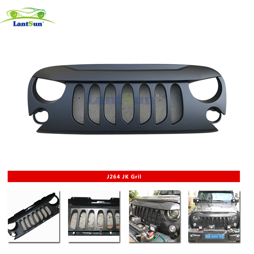 Car Accessories Grille Front Matte Black Transformer Grille Grid Grill With Mesh Insert for jeep wrangler 2007-2017 Lantsun