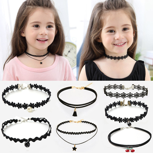 11PCS Fashion Pretty Girls Black Multi Layer Lace Chains Necklace Kids Exquisite Gothic Stretch Choker Jewelry Children Necklace